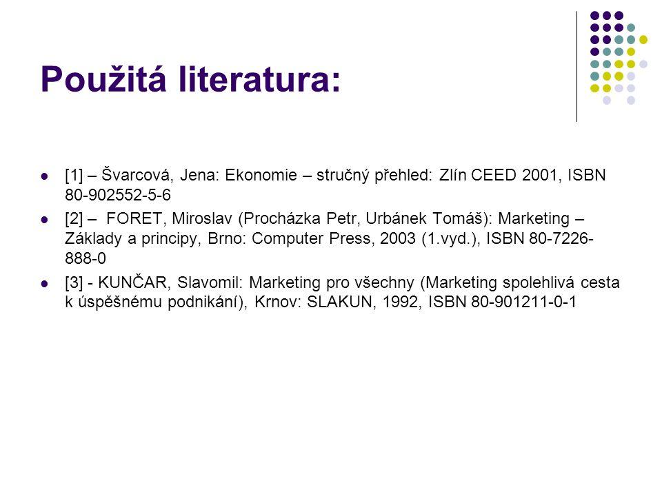 Použitá literatura: [1] – Švarcová, Jena: Ekonomie – stručný přehled: Zlín CEED 2001, ISBN 80-902552-5-6.